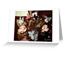"""""""Blue Bearded Irises Delft-ish Vase"""" Greeting Card"""