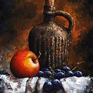 Apple and grapes - still life /19 by Imre Toth (Emerico)