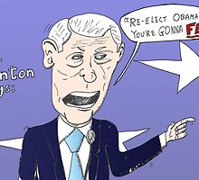 Bill Clinton caricature cartoon by Binary-Options