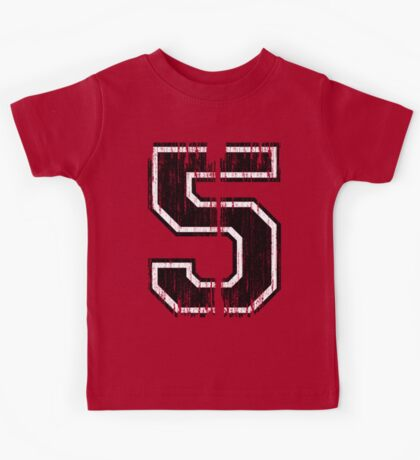 Bold Distressed Sports Number 5 Kids Tee