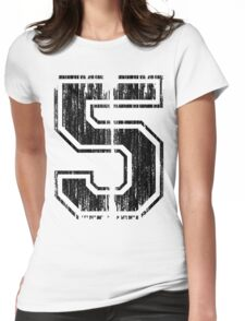 Bold Distressed Sports Number 5 Womens Fitted T-Shirt