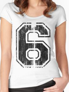 Bold Distressed Sports Number 6 Women's Fitted Scoop T-Shirt