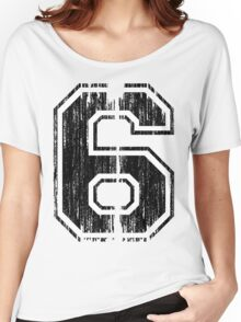 Bold Distressed Sports Number 6 Women's Relaxed Fit T-Shirt