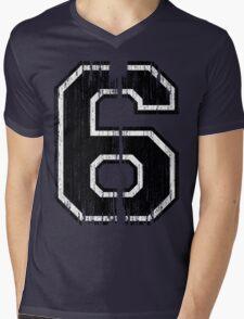 Bold Distressed Sports Number 6 Mens V-Neck T-Shirt