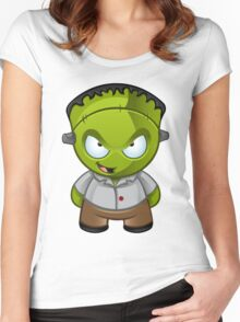 Frankenstein Monster Boy Naughty Grin Women's Fitted Scoop T-Shirt