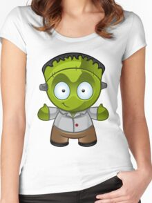 Frankenstein Monster Boy Smiling Women's Fitted Scoop T-Shirt