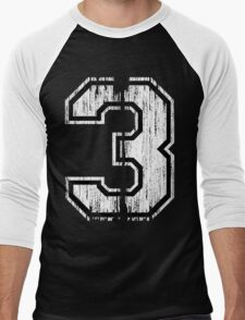 White Distressed Sports Number 3 T-Shirt