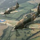 Hawker Hurricanes from 303rd RAF Squadron on patrol. by bryk