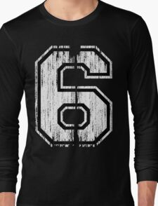 White Distressed Sports Number 6 Long Sleeve T-Shirt