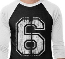 White Distressed Sports Number 6 Men's Baseball ¾ T-Shirt
