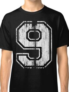 White Distressed Sports Number 9 Classic T-Shirt