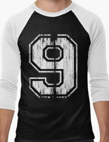 White Distressed Sports Number 9 T-Shirt
