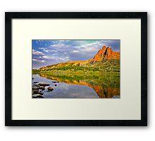 sunset reflection of the peak Framed Print