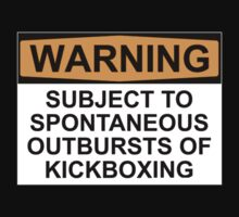 WARNING: SUBJECT TO SPONTANEOUS OUTBURSTS OF KICKBOXING Kids Clothes