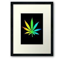 Rainbow Marijuana Leaf Framed Print