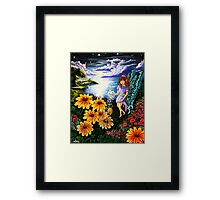 the magical moonlit island of pelagria Framed Print