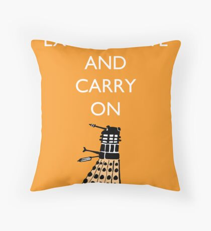 Exterminate and Carry On - Orange Throw Pillow