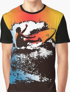 Groovy Hawaiian Surfer 1960s Retro Graphic - Navy & Red Graphic T-Shirt