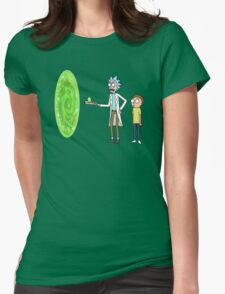 Rick & Morty makin' a portal Womens Fitted T-Shirt
