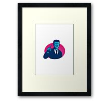 blue businessman politician pointing retro Framed Print