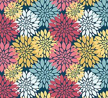 Colourful Floral Blooms Pattern by cikedo