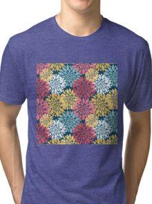 Colourful Floral Blooms Pattern Tri-blend T-Shirt