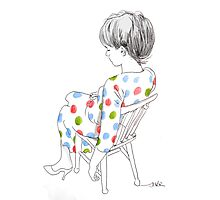 seated girl with a spotty dress Photographic Print