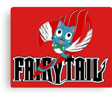 Black Fairy Tail and Red Happy Logo, T-Shirt Canvas Print