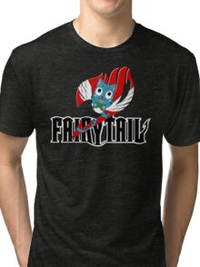 Black Fairy Tail and Red Happy Logo Tri-blend T-Shirt