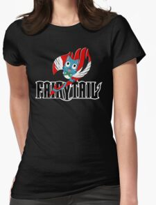 Black Fairy Tail and Red Happy Logo Womens Fitted T-Shirt