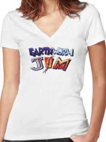 Earthworm Jim (SNES) Title Screen Women's Fitted V-Neck T-Shirt