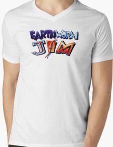 Earthworm Jim (SNES) Title Screen Mens V-Neck T-Shirt