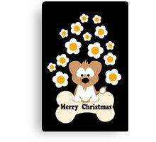 Christmas Dog In Black Canvas Print