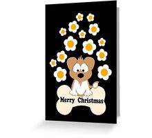 Christmas Dog In Black Greeting Card