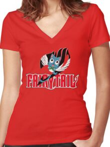 Red Fairy Tail and Black Happy Logo Women's Fitted V-Neck T-Shirt