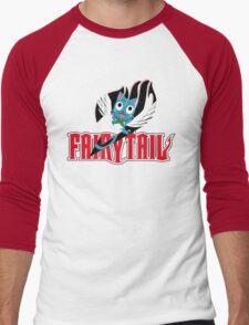 Red Fairy Tail and Black Happy Logo Men's Baseball ¾ T-Shirt