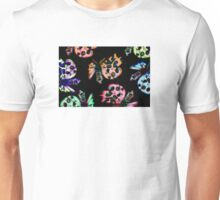 neon moths on black Unisex T-Shirt