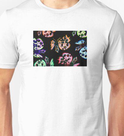 neon moths on black Unisex T-Shirt