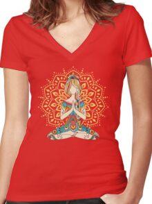 Yoga Om Chakras Mindfulness Meditation Zen 4 Women's Fitted V-Neck T-Shirt