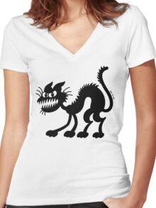 Halloween Black Cat Women's Fitted V-Neck T-Shirt