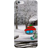 Cat On Snowy Fence iPhone Case/Skin