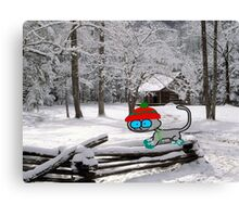 Cat On Snowy Fence Canvas Print