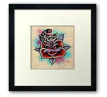 Day of The Dead Zombie Cat Rose Tattoo Framed Print