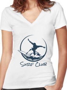 Surfer Club Print DesignTemplate Women's Fitted V-Neck T-Shirt