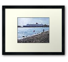 Cunard Queen Mary at Weston shore, Southampton Framed Print