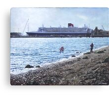 Cunard Queen Mary at Weston shore, Southampton Canvas Print