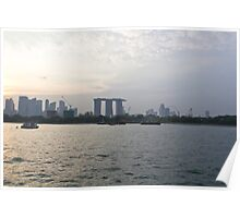 Marina Bay Sands and Flyer along with Singapore skyline from the harbor cruise Poster