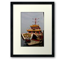 The ship of the Admiral Cheng Ho at Singapore Harbor Framed Print