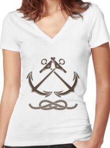 Nautical or Seafarer Club Emblem Women's Fitted V-Neck T-Shirt