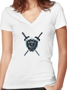 Legend of Zelda - Hylian Shield Women's Fitted V-Neck T-Shirt